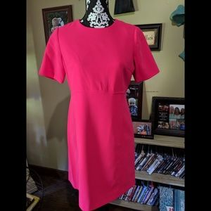 Eliza J hot pink sheath dress front pockets 6p